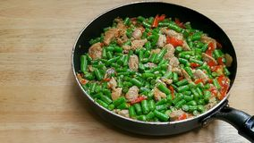 Alimento salteado, chin?s, vegetal, carne, carne foto de stock
