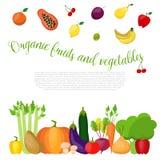Alimento sano con le verdure ed il fondo di frutti Illustrazione di vettore Fotografia Stock Libera da Diritti