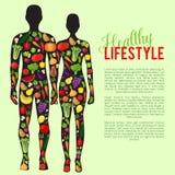 Alimento sano con le verdure ed il fondo di frutti Illustrazione di vettore Fotografie Stock Libere da Diritti