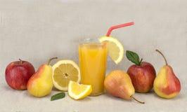 Alimento sano del succo e della frutta Fotografia Stock Libera da Diritti