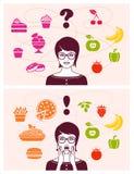Alimento sano e non sano Immagini Stock