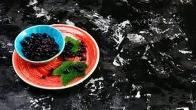 Alimento sano Mirtilli o uva passa di recente selezionati su un piatto, sui precedenti scuri Copi lo spazio, il concetto del cibo fotografia stock libera da diritti