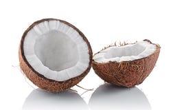 Alimento sano Mitad fresca del coco Imagen de archivo