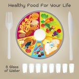 Alimento sano per progettazione del piatto di vita Fotografie Stock Libere da Diritti