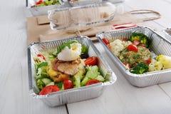 Alimento sano in scatole, concetto di dieta Fotografia Stock Libera da Diritti