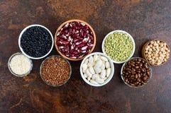 Alimento sano, stante a dieta, concetto di nutrizione, fonte della proteina del vegano fotografie stock libere da diritti