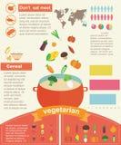 Alimento sano vegetariano Infographics Fotografia Stock Libera da Diritti