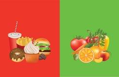 Alimento sano y malsano Fotos de archivo libres de regalías