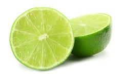 Alimento saudável cal cortado isolado na opinião superior do fundo branco fotografia de stock
