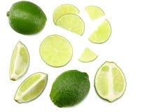 Alimento saudável cal cortado isolado na opinião superior do fundo branco Imagem de Stock Royalty Free