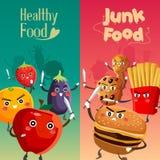 Alimento saudável contra o alimento insalubre Imagens de Stock