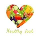 Alimento saudável Coração dos vegetais ilustração stock