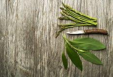Alimento saudável da mola com aspargo e alho selvagem Fotografia de Stock