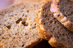 Alimento saudável de alta qualidade do close up do pão imagens de stock