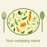 Alimento saudável do nome da empresa no fundo branco com ícones lineares na moda e sinais dos vegetais Imagens de Stock