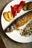 Alimento saudável e apropriado, peixes grelhados e vegetais foto de stock