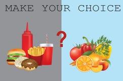 Alimento saudável e insalubre ilustração do vetor