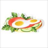 Alimento saudável em uma fatia do pão ilustração do vetor
