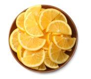 Alimento saudável limão cortado isolado na opinião superior do fundo branco Imagens de Stock Royalty Free