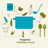 Alimento saudável orgânico no fundo branco com ícones lineares na moda e sinais dos vegetais - vector a ilustração Foto de Stock