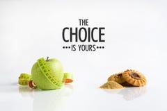 Alimento saudável ou alimento insalubre Sua escolha imagem de stock