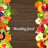 Alimento saudável Vegetais e frutas Fundo de madeira ilustração royalty free