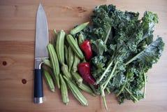 Alimento saudável Vegetais verdes e vermelhos na tabela de madeira com faca de aço foto de stock royalty free