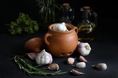 Alimento scuro - natura morta del chiaroscuro con aglio immagini stock libere da diritti
