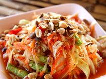 Alimento/somtum tailandeses Fotos de archivo libres de regalías