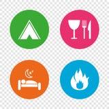 Alimento, sonno, tenda di campeggio e segni del fuoco Immagini Stock Libere da Diritti