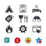 Alimento, sonno, tenda di campeggio e segni del fuoco Fotografie Stock Libere da Diritti