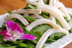 Alimento squisito della Cina-- calamaro fritto porro Fotografia Stock Libera da Diritti