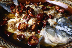Alimento squisito della Cina--pesci del peperoncino rosso Fotografie Stock Libere da Diritti