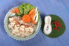 Alimento tailandés con el camarón Foto de archivo libre de regalías