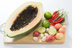 Alimento tailandés de la ensalada de la papaya Foto de archivo