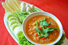 Alimento tailandés del ra del pla del prik de Nam imagen de archivo