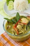Alimento tailandês, caril verde Fotografia de Stock