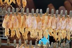 Alimento tailandês da rua, calamares secados, grampeado em ordem e pendurada no fio de metal fotos de stock royalty free