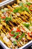 Alimento tailandês do estilo de Satay da carne de porco Fotos de Stock