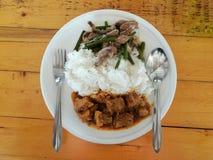 Alimento tailandês do estilo, placa da dois-entrada fotos de stock royalty free