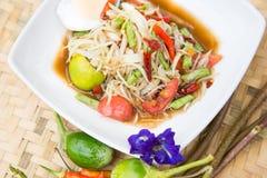 Alimento tailandês famoso, salada da papaia Imagem de Stock Royalty Free