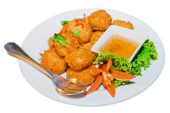 Alimento tailandês Fried Shrimp Cake Tod Mun Kung fotos de stock royalty free