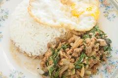 Alimento tailandês fritado do ovo frito da galinha da manjericão Imagem de Stock