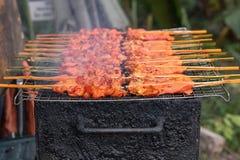 Alimento tailandês grelhado da galinha Fotografia de Stock