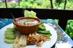 Alimento tailandês, peixe com molho do leite de coco Fotografia de Stock