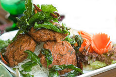 Alimento tailandês: Pla do homem de Tod Fotos de Stock