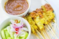 Alimento tailandês satay grelhado da carne de porco Fotos de Stock