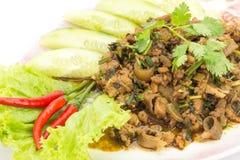 Alimento tailandês tradicional, salada triturada picante da carne de porco Imagem de Stock Royalty Free