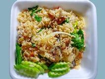 Alimento tailand?s da rua Cavala enlatada Fried Rice na espuma Tray Isolated no fundo ciano foto de stock royalty free