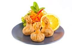 Alimento tailandese, borsa tailandese dei soldi o borsa di oro, arte tailandese tradizionale d Immagini Stock